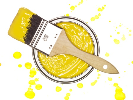 paintcan: Yellow Paintcan and brush from above isolated on a spotted background
