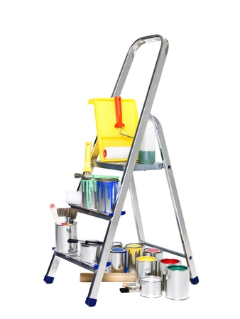 paintbucket: Stepladder with paint cans and brushes isolated on white background