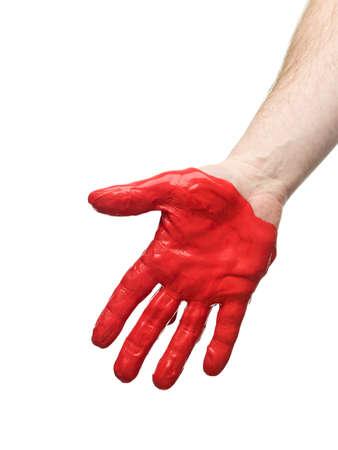 uomo rosso: Rosso dipinta mano isolato su sfondo bianco