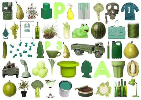 Large group of Green objects isolated on white background photo