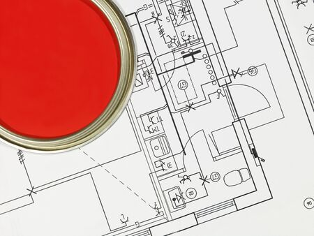 paintcan: Red Paintcan and Blueprint from High Angle view Stock Photo