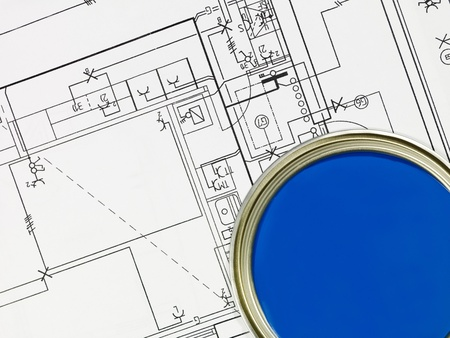 paintcan: Blue Paintcan and Blueprint from High Angle view Stock Photo