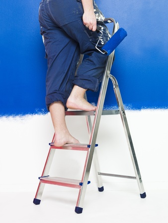 step ladder: Painting Girl on a step ladder