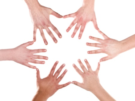 mankind: Humans making a formation out of hands and fingers on white background
