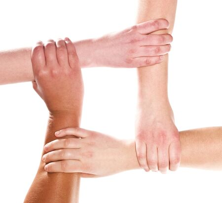 hands clasped: Human hands holding each other isolated on white background