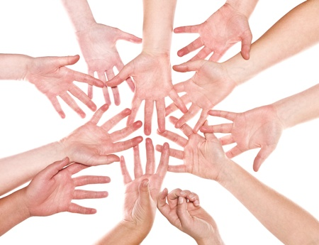 Large group of human hands isolated on white background photo