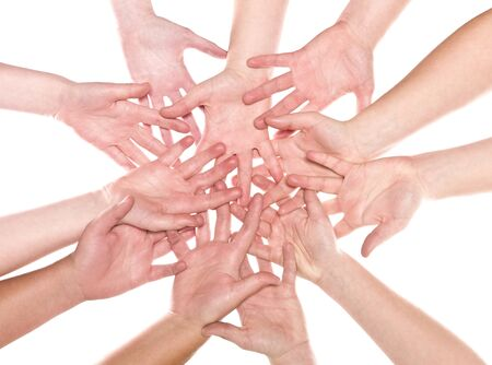 Large group of human hands isolated on white background Stock Photo - 8930471