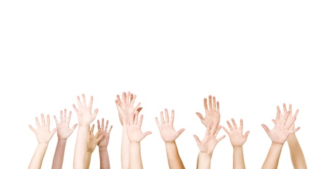 waving: Group of Hands in the air isolated on white background