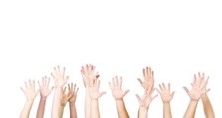 gente saludando: Grupo de manos en el aire aislado sobre fondo blanco Foto de archivo