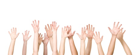 volunteer: Group of Hands in the air isolated on white background