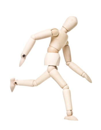 wooden mannequin: Running drawing doll isolated on white background Stock Photo