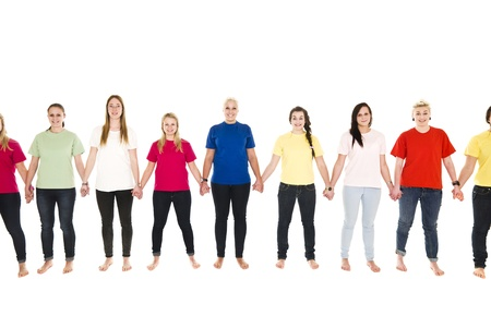 Girls in colored shirts holding hands isolated on white background