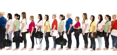 colorfull: Girls in colorfull t-shirts in a line on white background Stock Photo