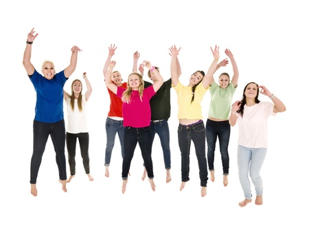young cheering: Jumping Happy People on white background Stock Photo