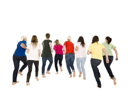 people from behind: Colorfull people running on white background