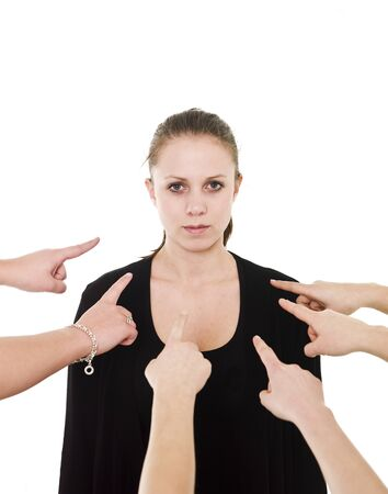 Group of Hands pointing at a woman on white background