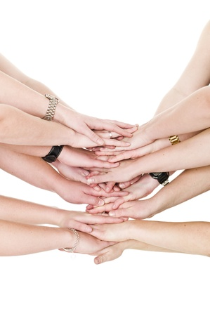 Large group of hands on top of each other photo