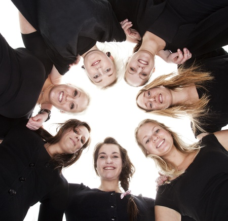 woman in white: Group of Young Women from low angle view
