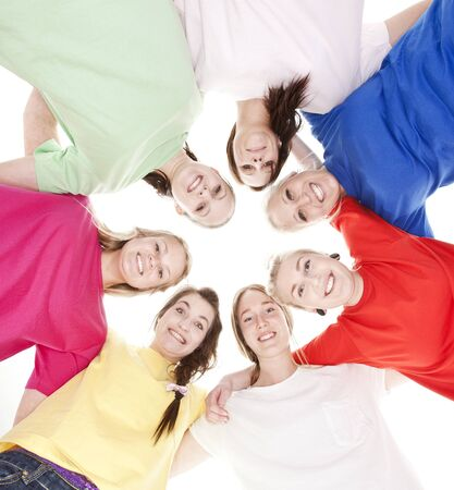 head support: Group of Young Women from low angle view