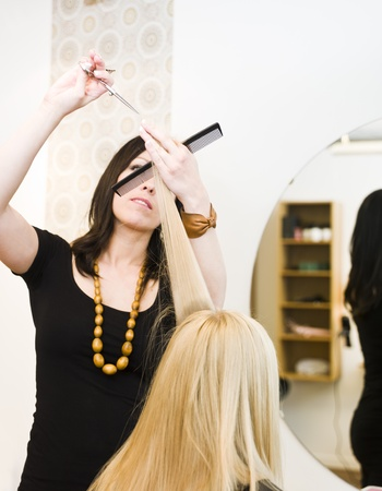 Hairdresser in action with blond customer Stock Photo - 9288961
