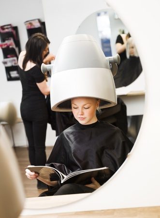 Young girl waiting at the Beauty Spa photo
