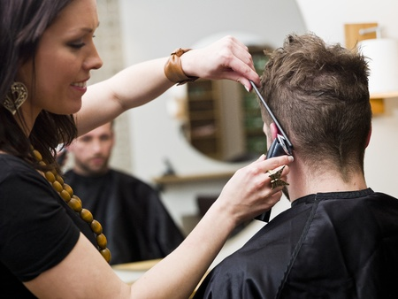 males only: Man at the Hair salon situation Stock Photo