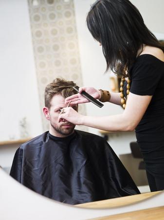 Man at the Hair salon situation photo