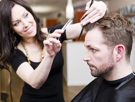 salon hair: Man at the Hair salon situation Stock Photo