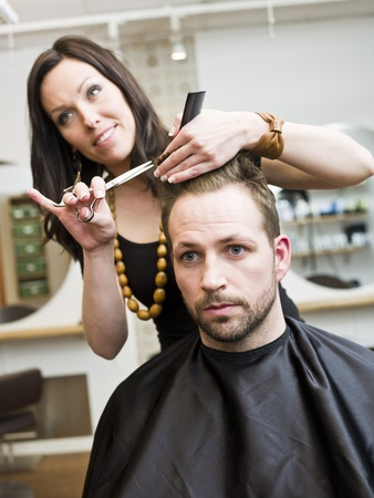 human hair: Man at the Hair salon situation Stock Photo