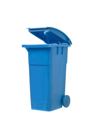 blue bin: Blue Recycling Bin isolated on white background Stock Photo