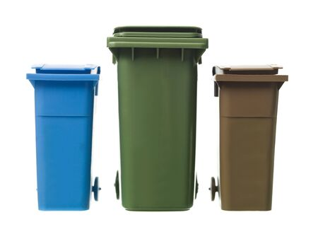 Three Recycling Bins isolated on white background photo