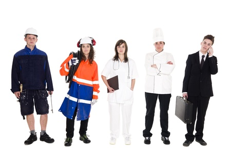 Group of people with different occupation isolated on white background