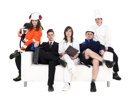 Group of people with different occupation sitting in a sofa isolated on white background