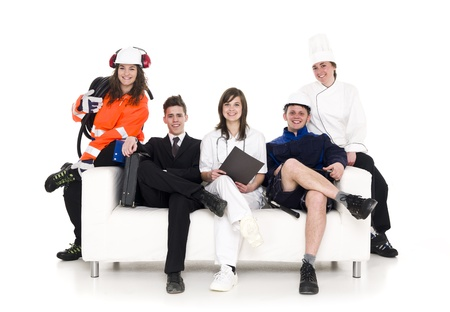 various occupations: Group of people with different occupation sitting in a sofa isolated on white background