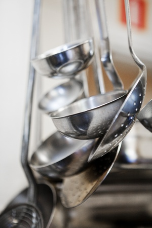 straining: Close up of Kitchen utensils