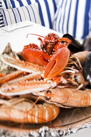 party tray: Close up of a seafood plate Stock Photo