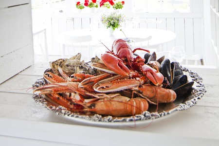 party tray: Seafood plate in a resturant