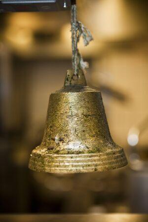short focal depth: Rustic Bronze Bell with short focal depth Stock Photo