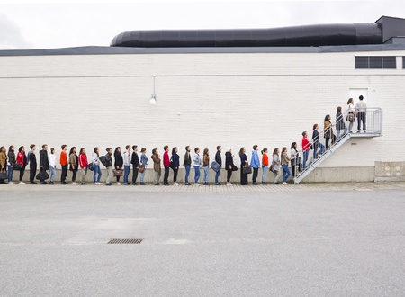 Large group of people waiting in line Stock Photo - 10696353