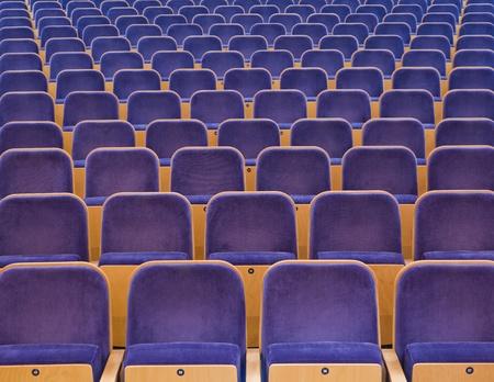 spectators: Full Frame de asientos azules espectadores