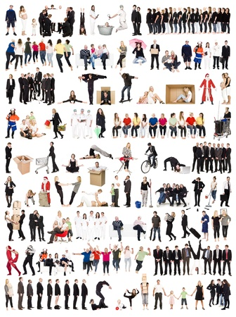 Collage of Active people isolated on white background photo