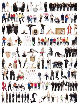 grote groep mensen: Collage van Actieve mensen op een witte achtergrond Stockfoto