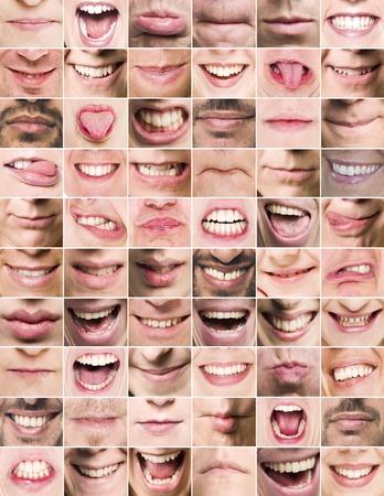 collage caras: Collage de la boca con expresiones diferentes Foto de archivo
