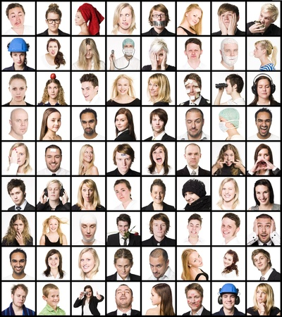 expresiones faciales: Collage de retratos aislados sobre fondo blanco Foto de archivo