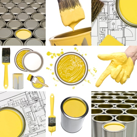 Collage of Yellow painting objects photo