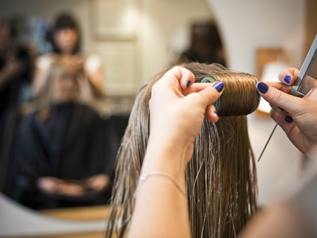 human hair: Situation in a Hair salon close-up Stock Photo
