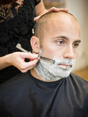 Shaving situation at the hair salon close-up Stock Photo - 11223881