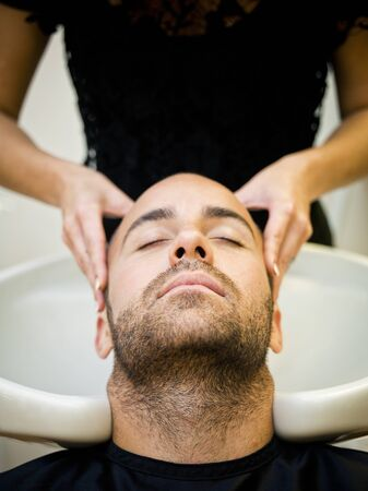 Washing hair at the Beauty shop photo