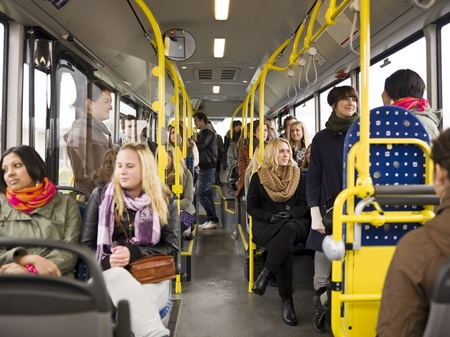 Large group of People going by bus Stock Photo - 11223919