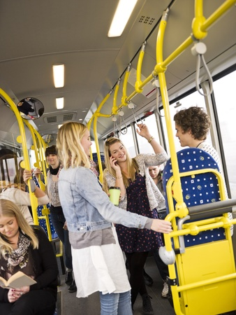 Large group of People going by bus Stock Photo - 11223954